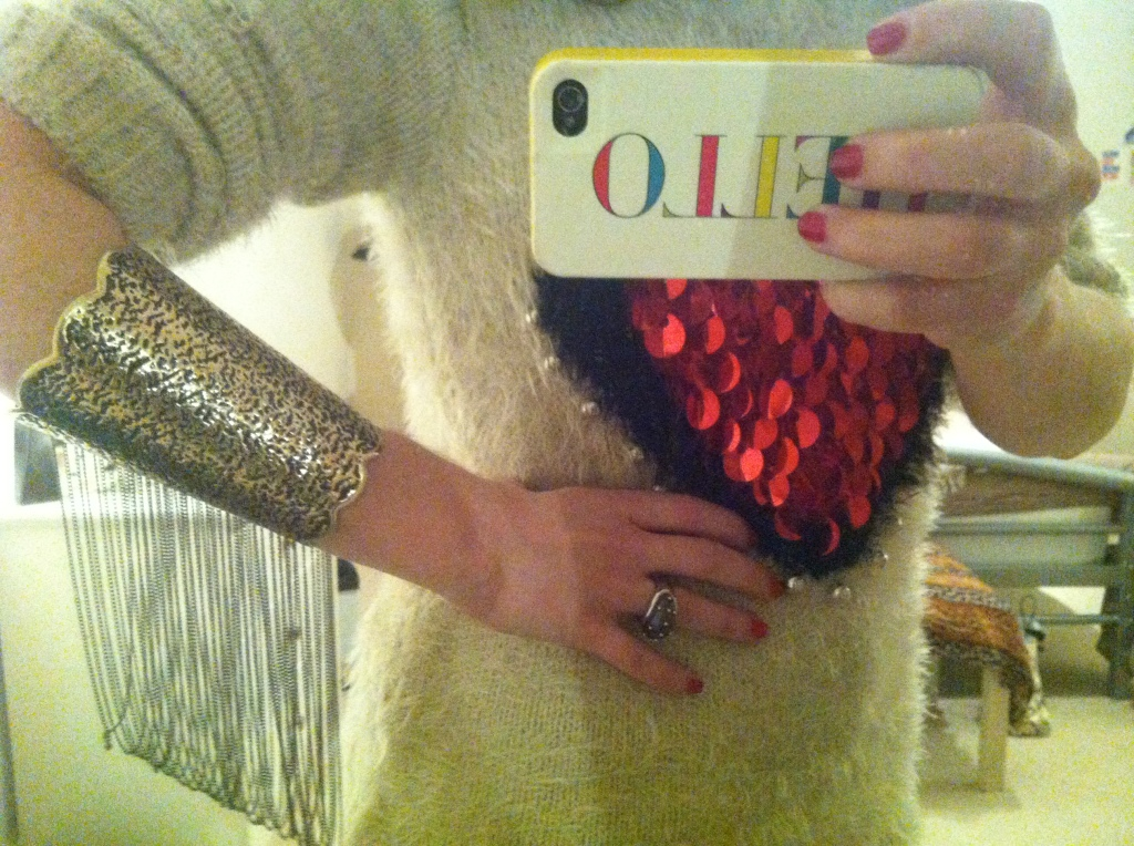 """The Cuff -- only worn with that """"jumper"""" (a fashion closet freebie!) for moderling purposes."""