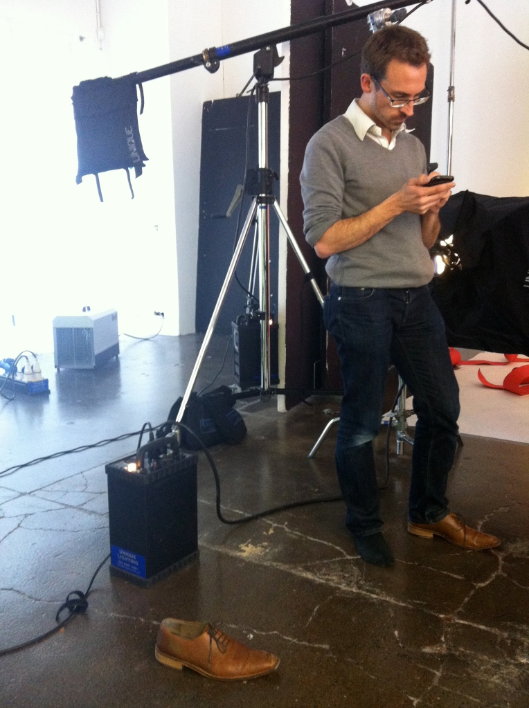 """This email is so important, I can't even put my other shoe on yet."" Alan Gittos, Fab Mag Acting Picture Editor"