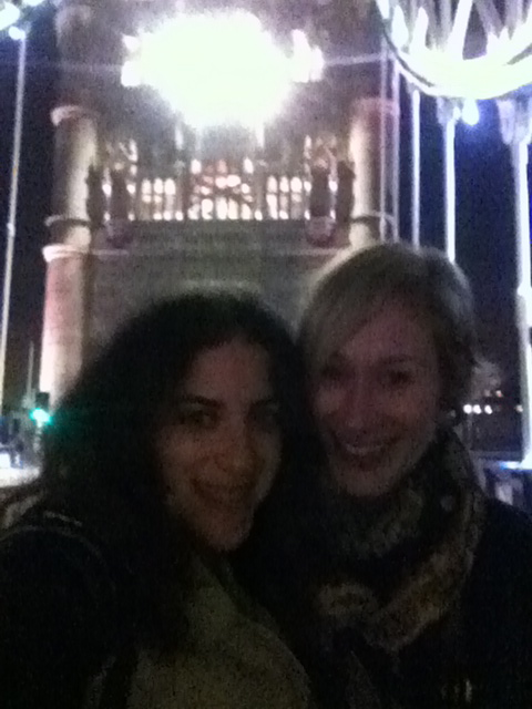 Crossing Tower Bridge with Jo after toasting our new adventures.