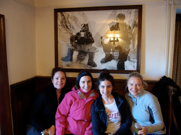 The four musketeers at Pen-Y-Gywrd pub where the Everest climbers came for a pint.