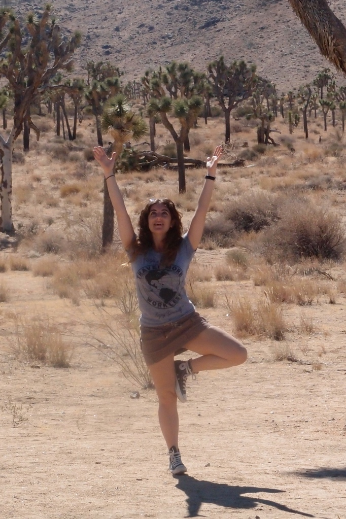 """Me in Joshua Tree wearing my """"Life is Short, Work Less Travel More"""" tee that my sister got me."""