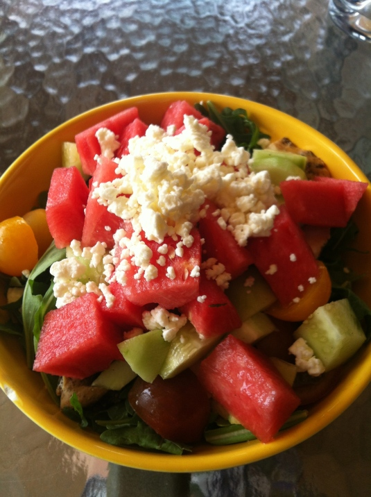 Fridge stocked means I could make this amazing watermelon, feta and chicken salad.