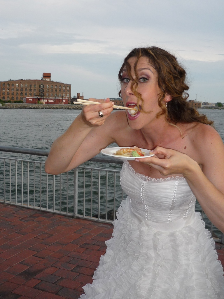 The bride wore, er, ate, sushi.