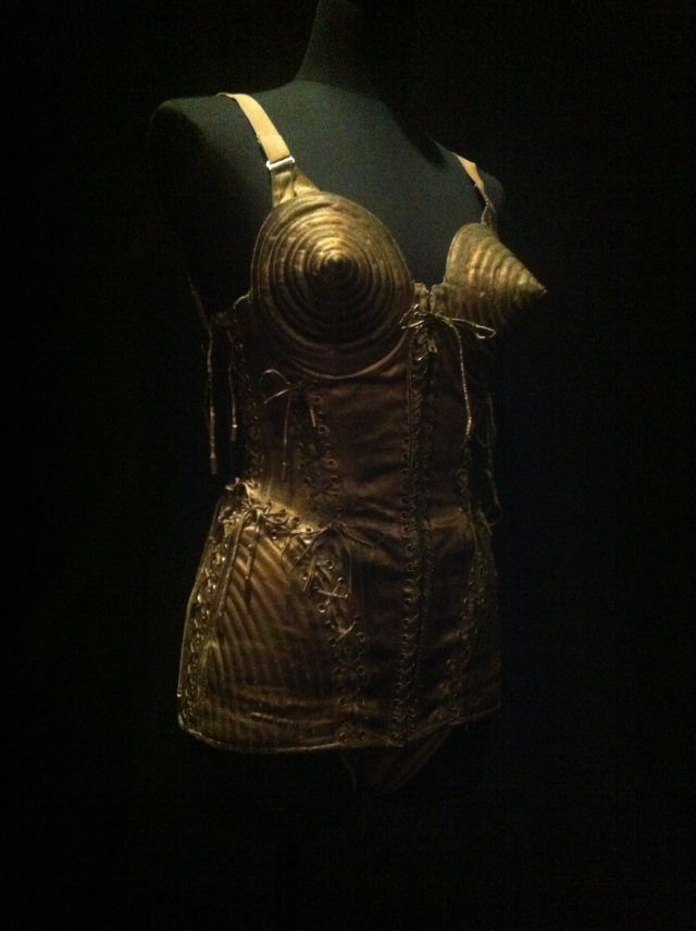 The infamous cone bra bodysuit worn by Madge.