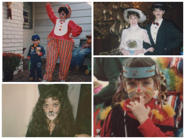 Clown, circa 1990; Bride & Groom, circa 1988; Moody Black Cat, circa 1988; Indian, circa 1984.