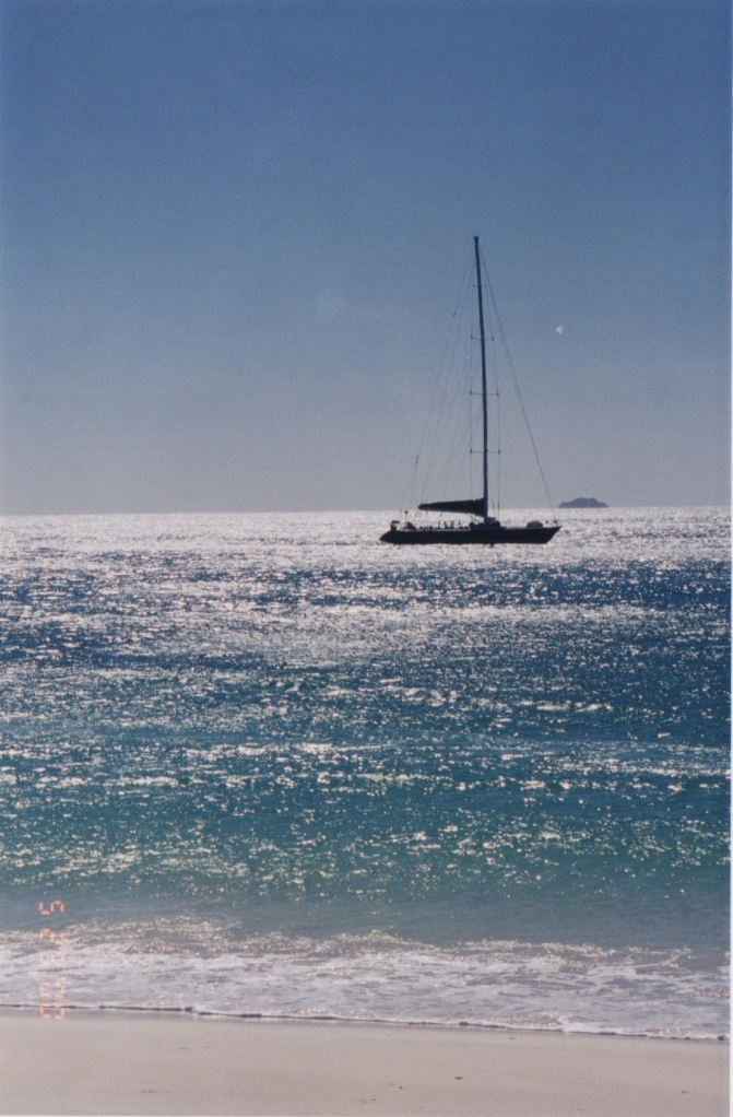 The Condor anchored off Whitehaven Beach.