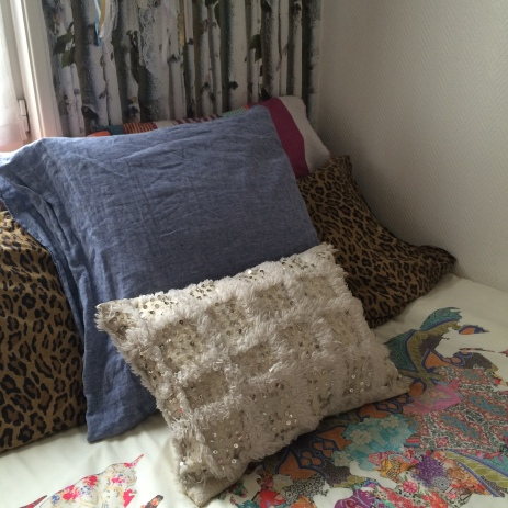 Berber pillow case—with sequins, aka, not for cuddling.