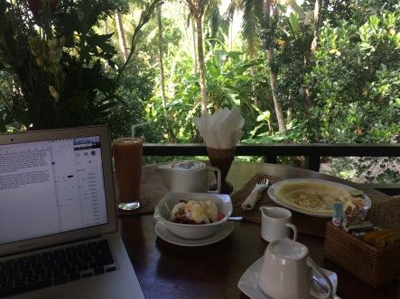 Bali breakfast on the terrace, aka my office for a few days