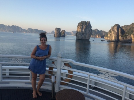 Chillin' on the Au Co bow in Halong Bay