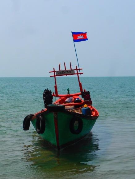 The type of boat we took to Rabbit Island, Cambodia