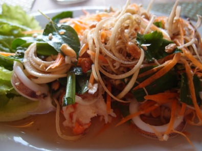 Squid salad with morning glory and herbs, Kep, Cambodia