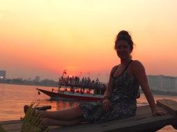 Sittin' on the bow of Le Tonlé Sap