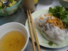 Porc noodle rolls with fish sauce, Hanoi Vietnam